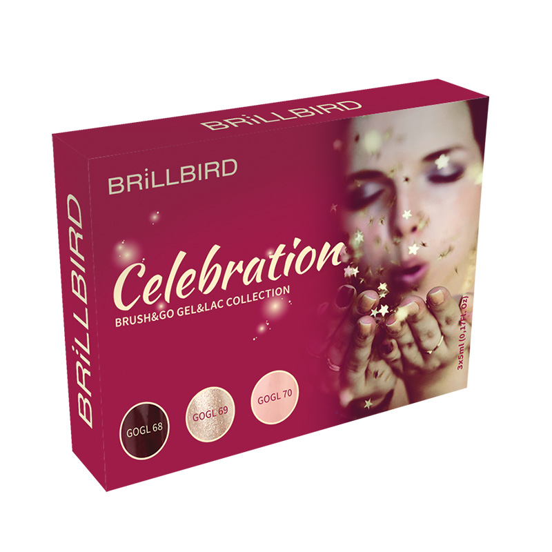 BrillBird Celebration Brush&Go Gel&Lac Készlet - 3x5ml