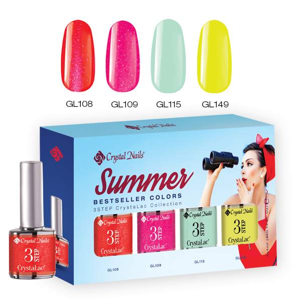 2017 Bestseller Colors Summer 3Step CrystaLac Készet - 4x4ml